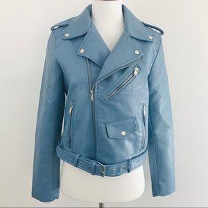 Jackets & Blazers - Blue Vegan Leather Jacket